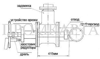 Врезка 50-120мм в трубопровод под давлением