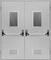 Двухстворчатые Металлические Противопожарные Двери Антипаника (Двупольные) С Остеклением / Стеклопакетом и вентиляцией EI60 ГОСТ Р 53307-2009