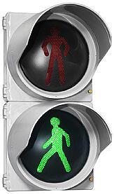 Пешеходный светодиодный светофор с диаметром выходной апертуры 200 мм.