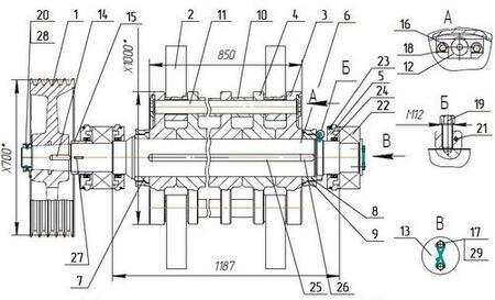 Ротор дробилки ДУ-1Р99М2.01.400 (для дробилок типа ДУ-1Р80...99)