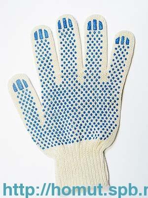 Перчатки 4 нити с ПВХ 10 кл. белые