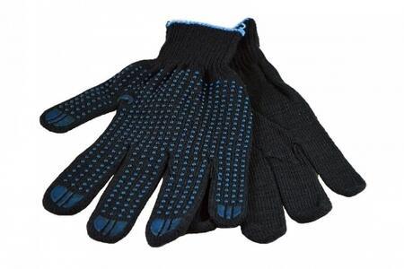 Перчатки 6 нитей с ПВХ 10 кл.черные
