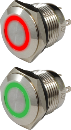 Кнопка металлическая 16 мм антивандальная с подсветкой AR-SD16-BM16100.FR