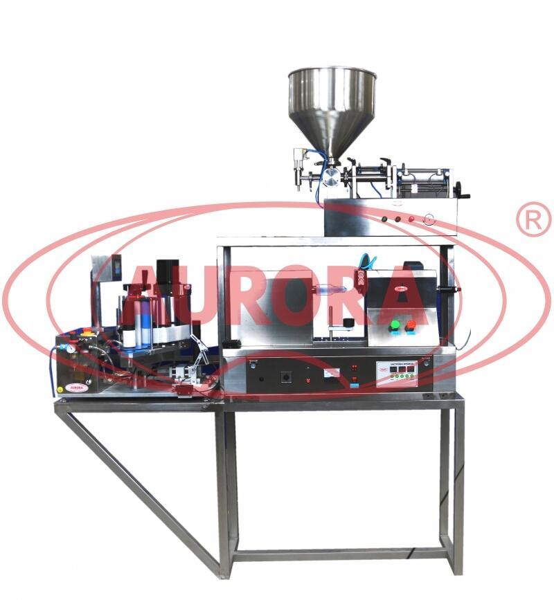 Полуавтоматическая мини-линия розлива, укупорки и этикетировки для пластиковых и ламинатных туб