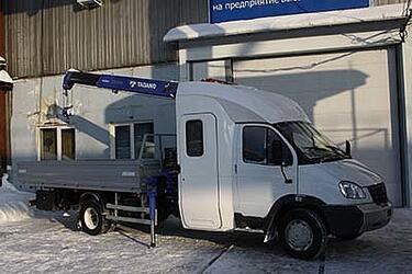 Универсальный автомобиль для дорожных и ремонтно-строительных работ ГАЗ-33106 с КМУ Tadano