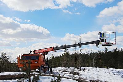 Гидроподъёмник Чайка-Socage Т328 с лебёдкой на базе снегоболотохода СГТ-31