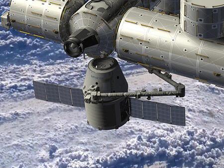 Запуск ракеты Falcon 9 с космическим кораблем Dragon