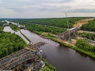Строительство моста ЦКАД через канал имени Москвы