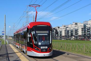 В Санкт-Петербург в 2019 году поставлен 21 новый трамвай модели 71-931М «Витязь-М»