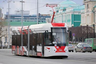 Современный трамвай «Уралтрансмаша» вышел на линии Екатеринбурга