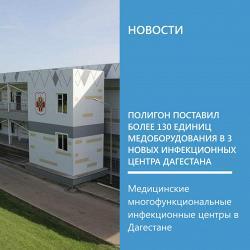 Полигон поставил более 130 единиц медоборудования в 3 новых инфекционных центра Дагестана