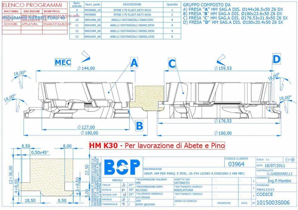 Кoмплект фрез для еврoвагонки радиуcной R=5 c напайками HM 180*12/36*50 Z=6 (BSP)