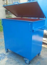 Металлический евроконтейнер для мусора объемом 0.8 м3