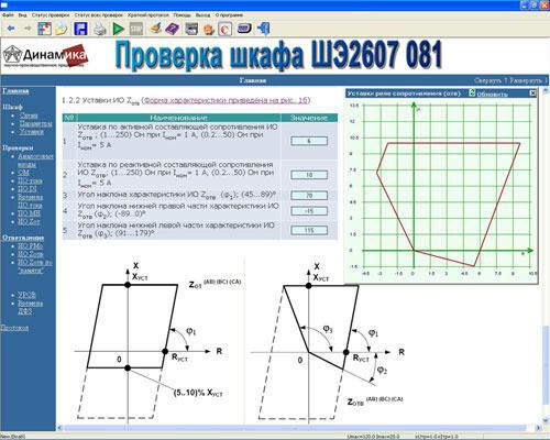 Обеспечение программное Проверка шкафа дифференциально-фазной защиты линии типа ШЭ2607 081