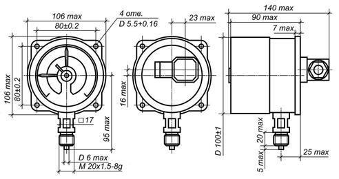 Электрическая...  Внешний вид ( а и схема подключения ( в манометра электроконтактного типа ЭКМ (рис.)