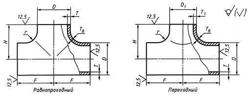 Тройники штампованные стальные повышенной коррозионной стойкости и хладостойкости по  ТУ 1469-004-82932963-2016, Рр до 32 МПа включительно