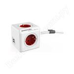 Сетевой удлинитель allocacoc powercube extended usb red 1402rd/deeupc